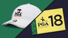 Signed Pin Flag and PGA Championship Hats